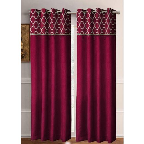 Flipkart SmartBuy 213 cm (7 ft) Polyester Door Curtain (Pack Of 2)(Floral, Maroon)
