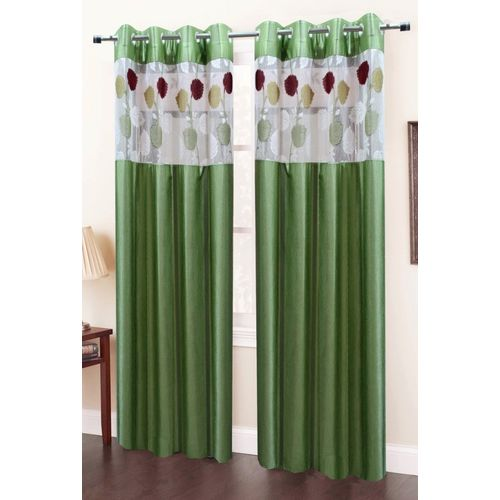 Homefab India 152.5 cm (5 ft) Polyester Window Curtain (Pack Of 2)(Floral, Green)