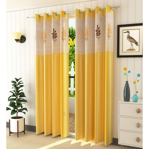 Homefab India 274.5 cm (9 ft) Polyester Long Door Curtain (Pack Of 2)(Floral, Yellow)