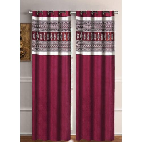 Flipkart SmartBuy 274 cm (9 ft) Polyester Long Door Curtain (Pack Of 2)(Motif, Maroon)
