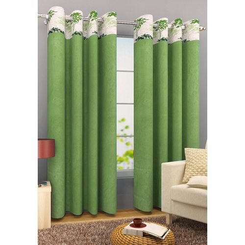 Homefab India 214 cm (7 ft) Polyester Door Curtain (Pack Of 2)(Floral, Green)