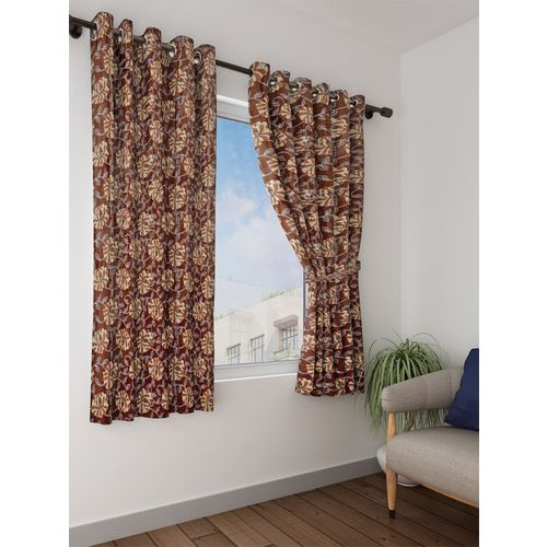 Bombay Dyeing 153 cm (5 ft) Polyester Window Curtain (Pack Of 2)(Floral, Brown)