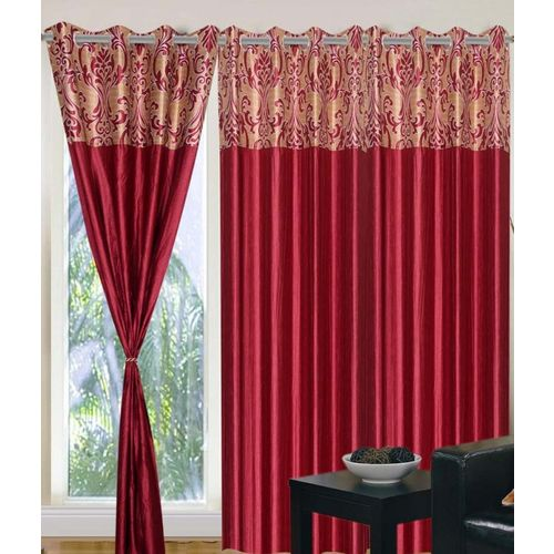 Panipat Textile Hub 213.5 cm (7 ft) Polyester Door Curtain (Pack Of 4)(Floral, Maroon)