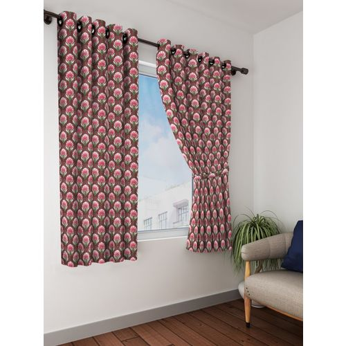Bombay Dyeing 153 cm (5 ft) Polyester Window Curtain (Pack Of 2)(Floral, Multicolor)