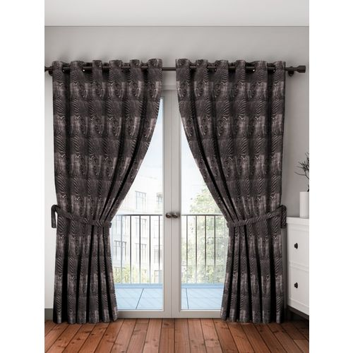 Bombay Dyeing 214 cm (7 ft) Polyester Door Curtain (Pack Of 2)(Printed, Blue)