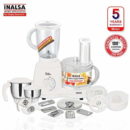 Inalsa Food Processor Wonder Maxie Plus V2 700 - Watt with Blender Jar, Dry Grinding Jar, Chutney Jar, 11 Accessories| 5 Yr. Warranty on Motor | Citrus and