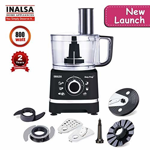 Inalsa Food Processor Easy Prep-800W with Processing Bowl & 7 Accessories,(Black)