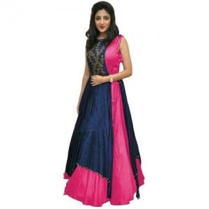 Apple Designer Flared/A-line Gown(Blue, Pink)