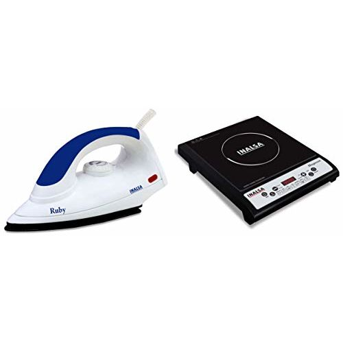 Inalsa Ruby 1000-Watt Dry Iron with Non-Stick Coated Soleplate (White and Purple) & Magnum 1800-Watt Induction Cooktop (Black) Combo