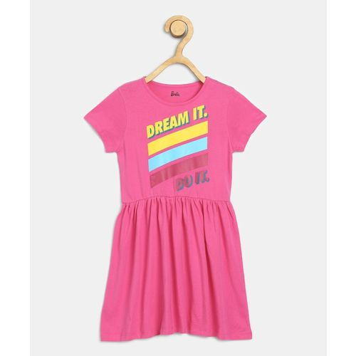 Barbie Girls Midi/Knee Length Casual Dress(Pink, Half Sleeve)