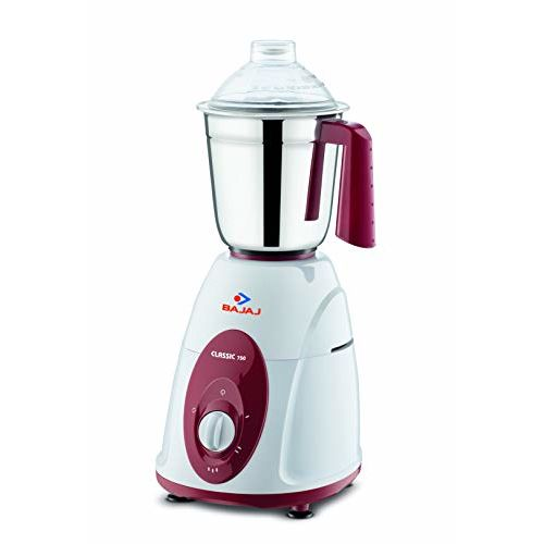 Bajaj DX 7 1000-Watt Dry Iron & Classic 750-Watt Mixer Grinder with 3 Jars (White and Maroon) Combo