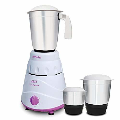 Inalsa Jazz Mixer Grinder, 550W, 3 Jars (White/ Purple)