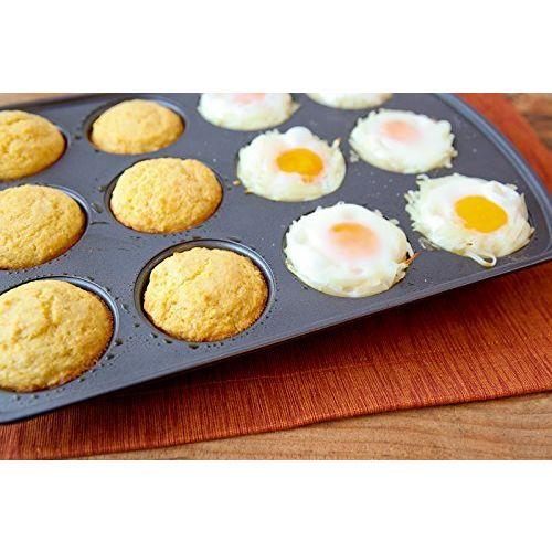 Bulfyss Outperform Aluminium 3D Nonstick 12-Slot Cup Shape Muffin, Cake Mould, Medium, Black