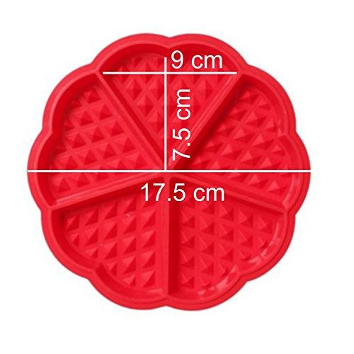 Syga Heart-Shaped Silicone Waffle Mould for Cake, Cookie, Muffin Baking Tool, 6.5x0.6-inch (Red)