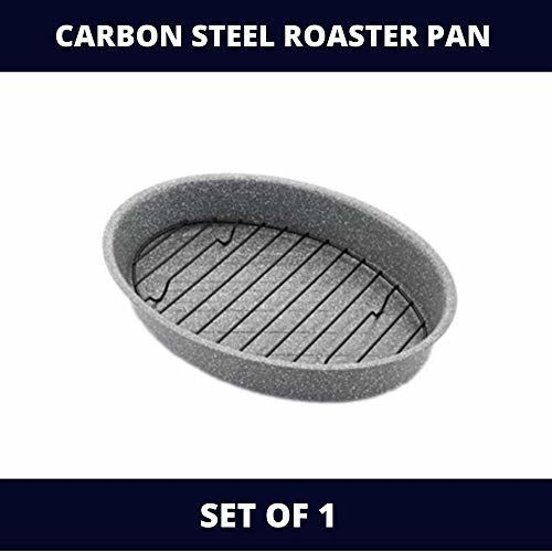 Femora Bakeware Non Stick Carbon Steel Roaster Pan for Chicken, Panner, Barbeque with Steel Rack, 1 Year Warranty on Stone Ware Coating