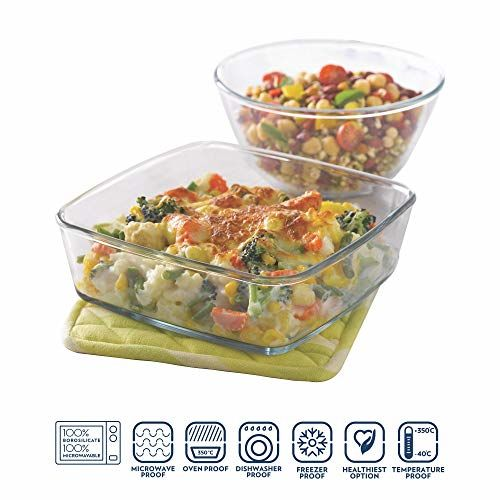 Borosil Glass Mixing Bowl and Square Dish with Lid Set, 2-Pieces, Transparent & Oval Baking Dish, 1.6 litres, Transparent Combo