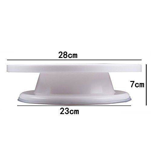 Royals Combo Set of Plastic Revolving Turn Table Cake Stand with 3 Scrapper