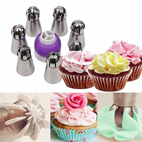 Zollyss 7 Pc Sphere Ball Flowers Russian Nozzles Tips with Icing Piping Bag Pastry Cake Fondant Cupcake Buttercream DIY Baking Decorating Tool Set (Set of 9)