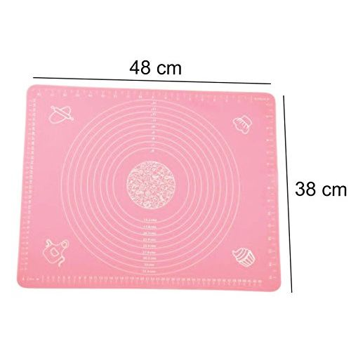 Syga Silicone Reusable, Non-Stick Pastry Rolling Baking Mat with Measurements, 50x40cm(Multicolour)