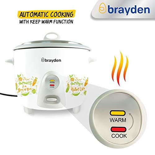 Brayden Rizo, 700 W Electric Rice Cooker with One-Step Automatic Cooking (Ivory White, 1.8 Litre)