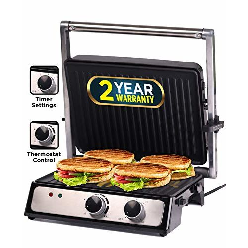 iBELL SM209G 2000-Watt Contact Grill Sandwich Maker, Big Size to Fit 4-Slice Bread,Thermostat & Timer Knob Function,Detachable Plates, Silver
