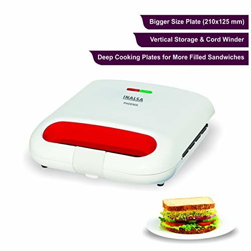 Inalsa Phoenix 750-Watt 2 Slice Sandwich Maker (White/Red)