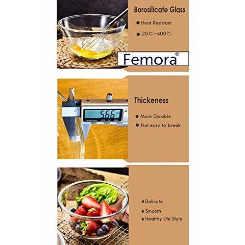 Femora Borosilicate Glass Microwave Safe Mixing Bowl Set - 2650 ML
