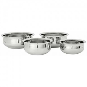 Amazon Brand - Solimo Stainless Steel Handi Set (4 pieces, 800ml, 1100ml, 1400ml and 1800ml)