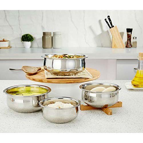 Amazon Brand - Solimo Stainless Steel Handi Set (4 pieces, 800ml, 1100ml, 1400ml and 1800ml)