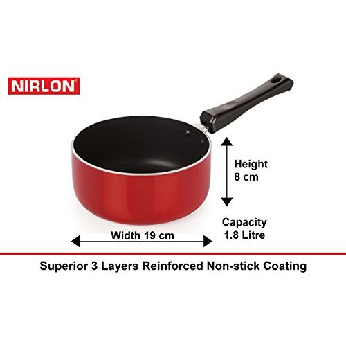 Nirlon Gas Compatible Non-Stick Aluminium Cookware Set, 6-Pieces, Red/Black