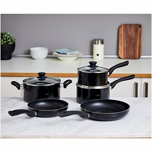 AmazonBasics Non-Stick 5-Piece Cookware Set (Induction and Gas Compatible)
