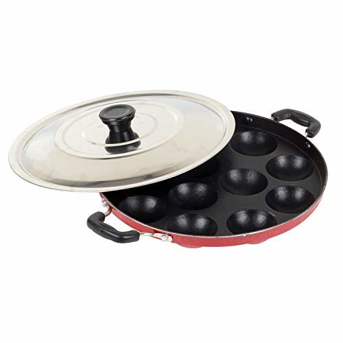 EuroSleek 12 Cavities Non Stick Appam Patra with Lid,Red (Paniyarrakal/Paniyaram/Appam Pan/Maker/Pan Cake Maker)