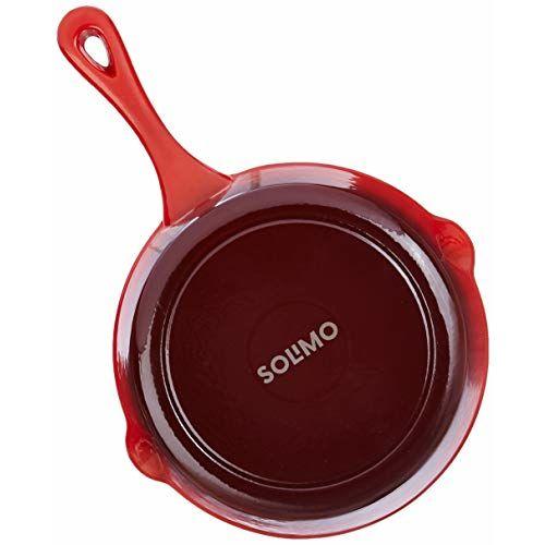 Amazon Brand - Solimo Cast Iron Fry Pan (21cm, 1350ml, Red Enamel)