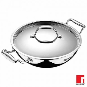 Bergner Argent Triply Stainless Steel Kadhai with Stainless Steel Lid, 28 cm, 3.9 Litres, Silver