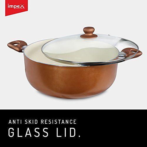 Impex PEARL-3213 Ceramic Coated Nonstick Aluminium Induction Based Biriyani Pot (10 Litre,32 cm)