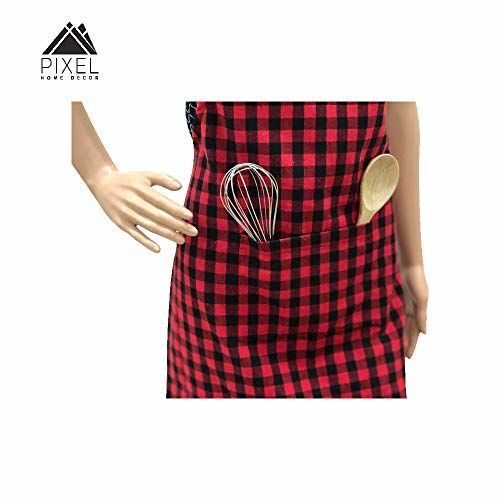 Pixel Home Cotton Apron100% Cotton Check Kitchen Apronwith Front Center Pocket Best Design Apron (Red Checked)