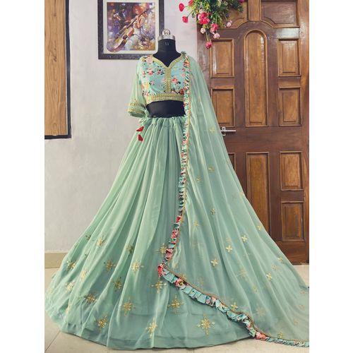 salwar soul Party Wear New Stylish Pista Green Color Lehenga Choli