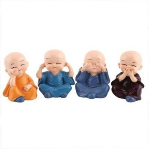 kuku Handcrafted Baby Monk Buddha Set Of 4 Statue Decorative Showpiece Decorative Showpiece - 5 cm(Polyresin, Multicolor)