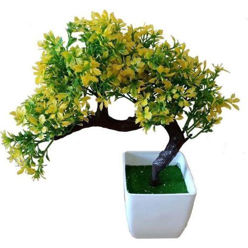 kaykon Bonsai Wild Artificial Plant with Plastic Pot-Yellow-10 inch Bonsai Wild Artificial Plant with Pot(25 cm, Multicolor)