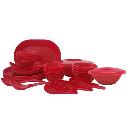 Incrzima - 44 Pcs Dinner Set Round Red -1501R