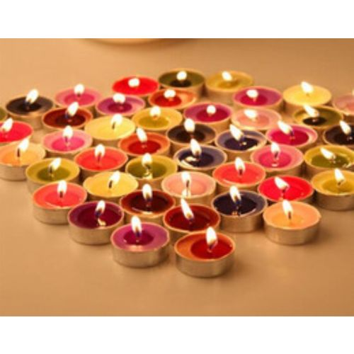 Lovato multicolor tealight candle Candle(Multicolor, Pack of 50)