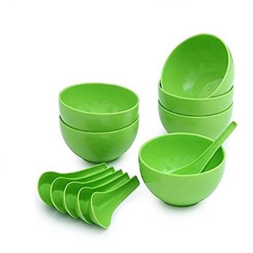Unbranded/Generic Soup Bowl Green Plastic Set of 12pcs (6 Bowls 6 Soup spoons)