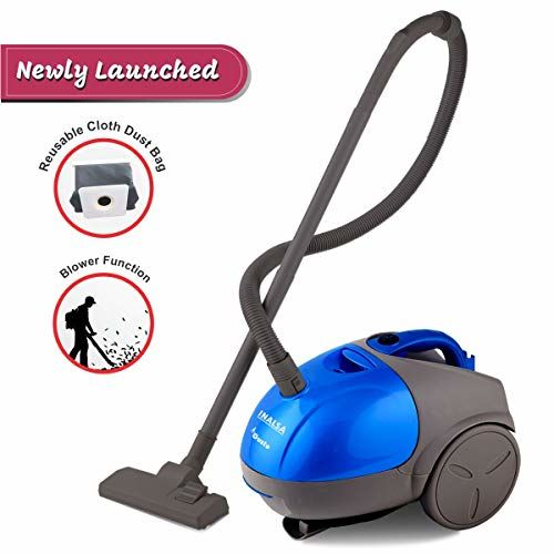INALSA Vacuum Cleaner Gusto-1000W with Blower and 1.5L Washable Cloth Filter Bag, 100% Copper Motor, Powerful 16KPA Suction and 360-Deg Rotation (Blue/Grey)