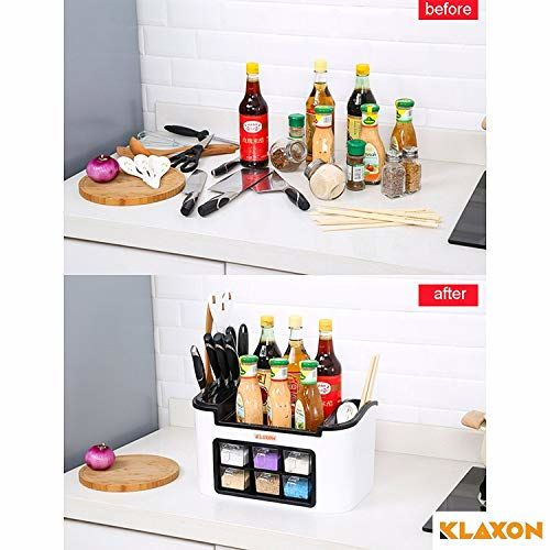 Klaxon Multifunction Kitchen Storage Rack - Spice Rack, Knife Block, Spoon Holder, Oil Container-White
