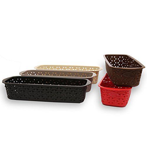 Jaypee Plus This & That Plastic Basket, 28 cm, 5-Pieces, Multicolor