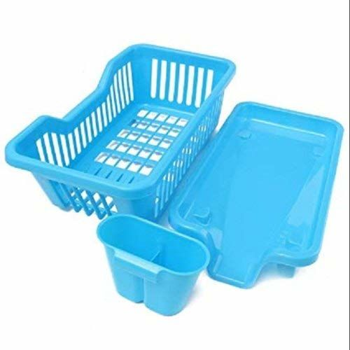 AMAZING MALL (LABEL) 3 in 1 Durable Plastic Kitchen Sink Dish Drying Drainer Rack Holder Basket Organizer with Tray Utensils Tools Cutlery (Multicolor)