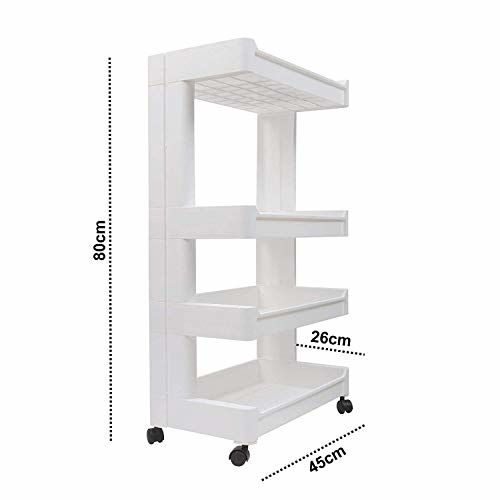 P YU 4-Tier Space Saving Storage Rack Organizer Multipurpose Kitchen Bathroom Shelf with Wheels