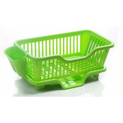 CPEX Plastic Kitchen Sink Dish Drainer - Drying Rack Washing Basket - Dish Drainer Rack with Tray Multifunctional Basket (Multi-Color)