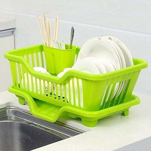 HARISWARUP HS-STORE's 3 in 1 Kitchen Sink Dish Drainer Drying Rack Plastic Basket Organizer with Tray and Utensil Cutlery Holder Cup (Black)