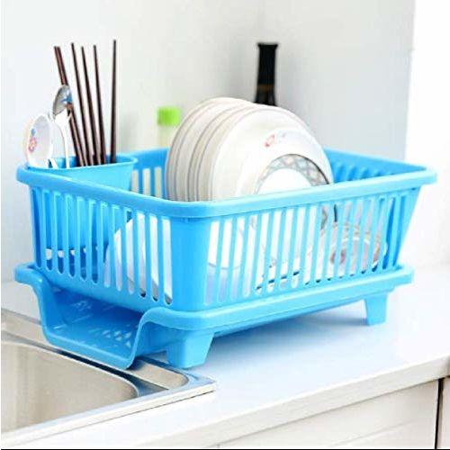 Generic Krishn Kunj 3 in 1 Large Sink Set Dish Rack Drainer Drying Rack Washing Basket with Tray for Kitchen, Dish Rack Organizers, Utensils Tools Cutlery (Brown)